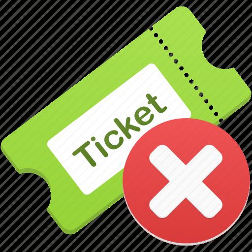 cancel, delete, remove, ticket icon
