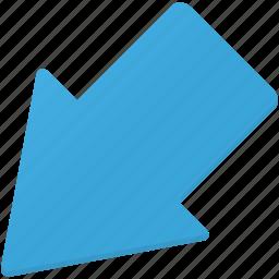 arrow, arrows, direction, down, downleft, left icon