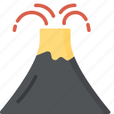 activity, camping, gear, outdoor, volcano icon