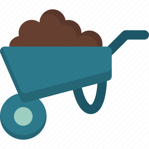 agriculture, farming, industry, loaded, production, wheelbarrow icon