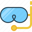 goggles, tip, tour, travel, underwater, vocations icon