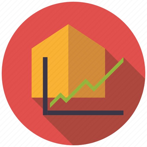 graph, home, house, increase, real estate, realty, value icon