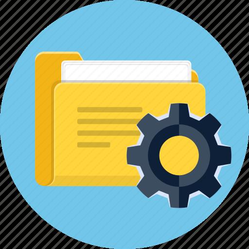 cog, folder, gear, management, project icon