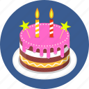 birthday, cake, candle, candles, happy icon