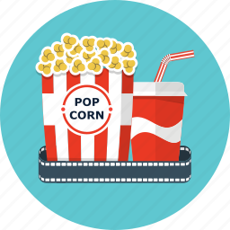 cinema, coca, cola, film, movie, popcorn, soda icon