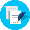 contract, document, quill, signing icon