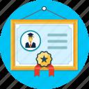 certificate, diploma, frame, ribbon