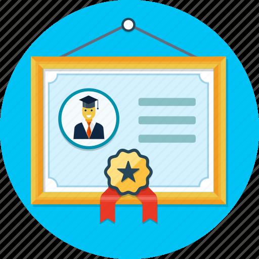 certificate, diploma, frame, ribbon icon
