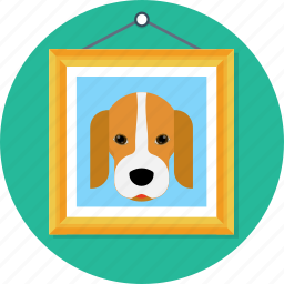 animal, beagle, dog, frame, paint, poster icon