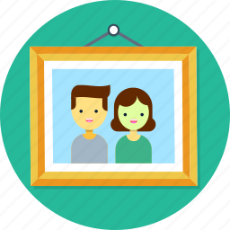 family, frame, paint, picture, wall icon