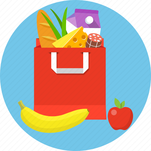 bag, food, grocery, paper icon