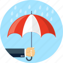 hand, rain, umbrella icon