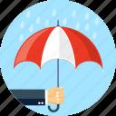 hand, rain, umbrella