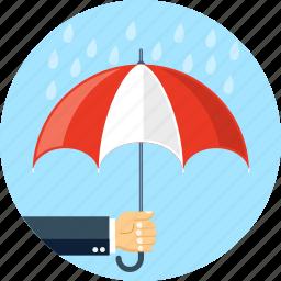 hand, rain, umbrella icon