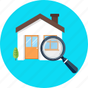 house, search, magnifier, magnifying glass