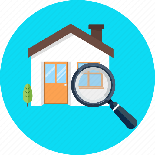 house, magnifier, magnifying glass, search icon