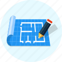 blueprint, floor, pencil, plan icon