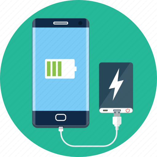 bank, battery, power, power bank, smartphone icon