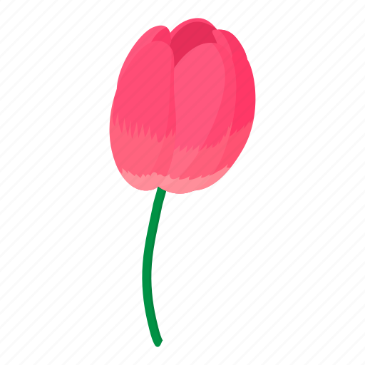 Cartoon Floral Flower Nature Pink Plant Tulip Icon