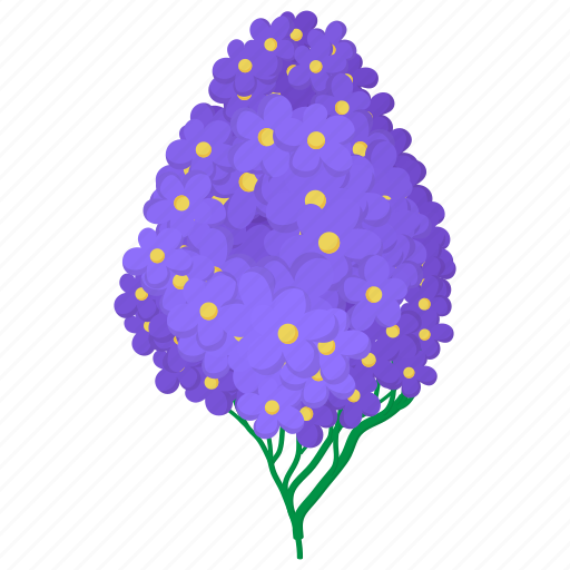cartoon, floral, flower, hydrangea, nature, plant, violet icon