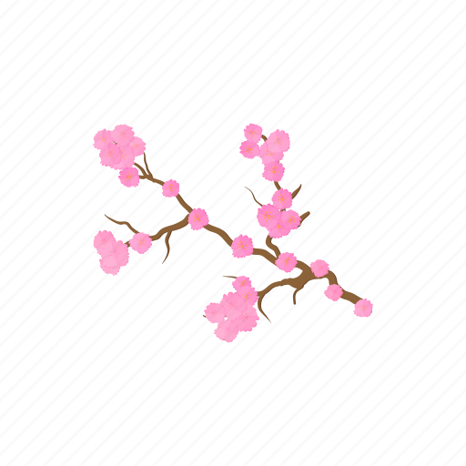 Blossom Branch Cartoon Flower Nature Pink Spring Icon