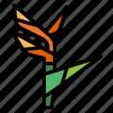 bird, floral, flower, paradise, plant icon