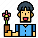 customer, flower, man, orchid icon