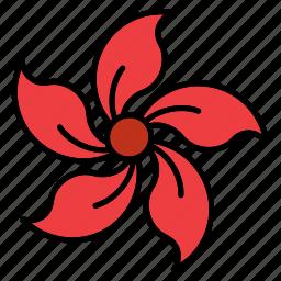 flora, floral, flower, nature, periwinkle, shape icon