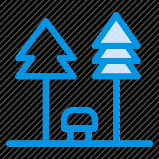 bench, garden, nature, park, recreation, tree, village icon