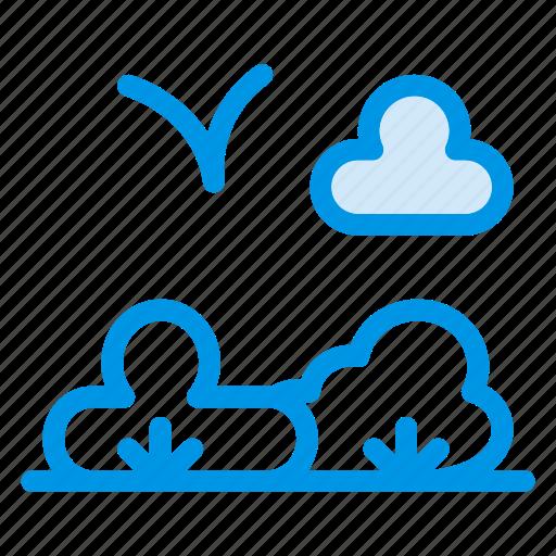 cloud, garden, grass, nature, park, plant, tree icon