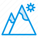 height, hills, land, light, mount, sun, view icon
