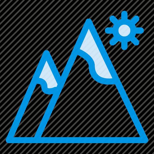 height, hills, land, light, mount, sun, view icon