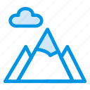 cloud, height, hill, land, mountain, nature, stone icon