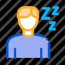 drowsiness, man, sleep, zzz icon