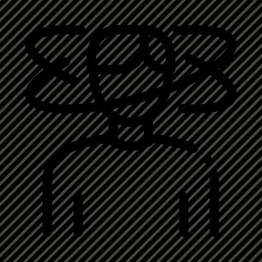 dizziness, male, man, people icon