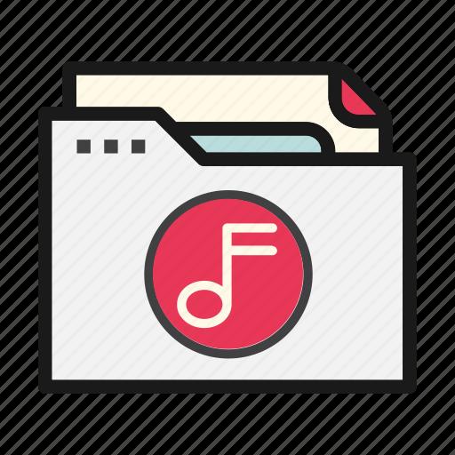 document, file, folder, music, sound icon
