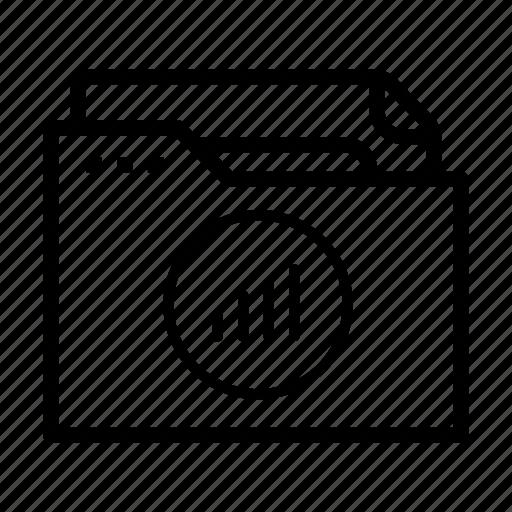 analytics, bar graph, document, folder, statistics icon