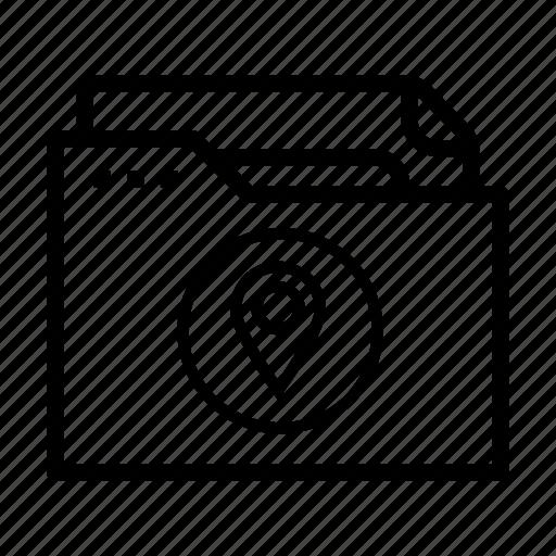 document, file, folder, geo tag, location icon