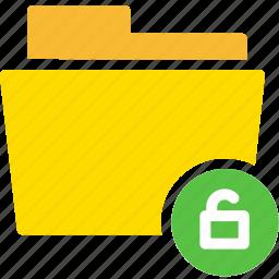 data, document, file, folder, unlock icon