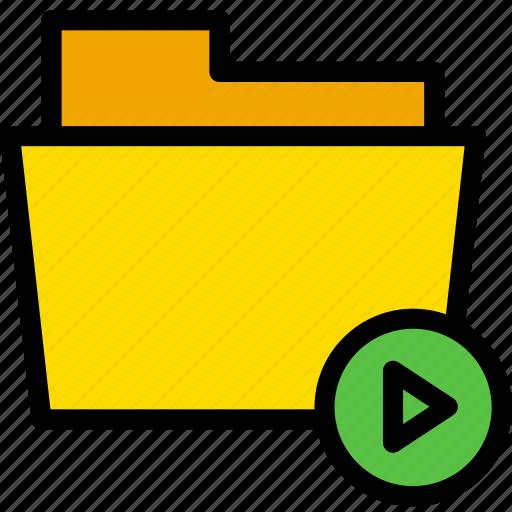 data, document, file, folder, play icon