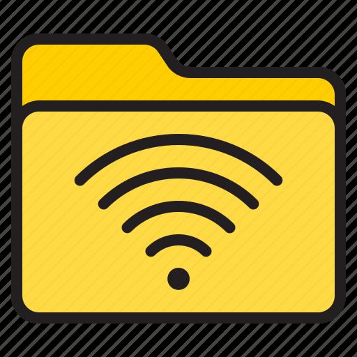 doc, document, file, folder, wifi icon