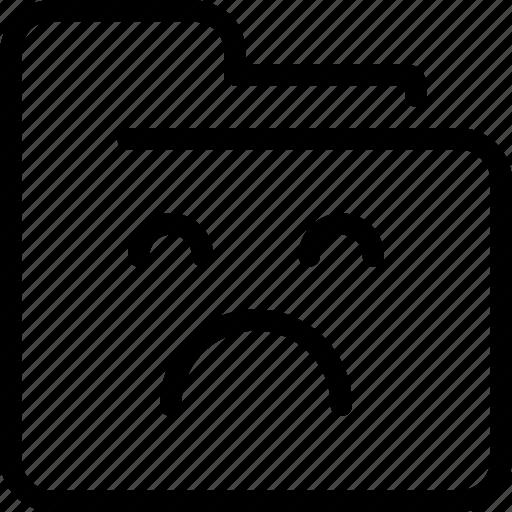 document, file, folder, sad icon