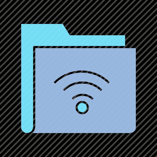 data, file, file sharing, folder, info, storage, wifi icon