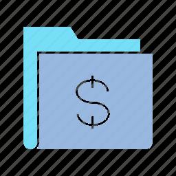 data, dolar, file, folder, money, storage icon