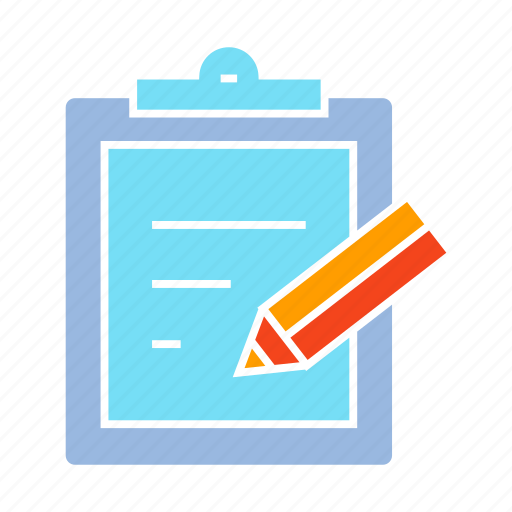 clipboard, document, note, paper, pen, writing icon