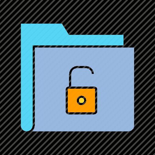 archive, file, file security, folder, key, storage, unlock icon