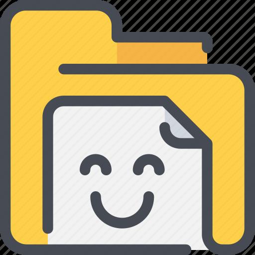 archive, document, file, folder, happy icon