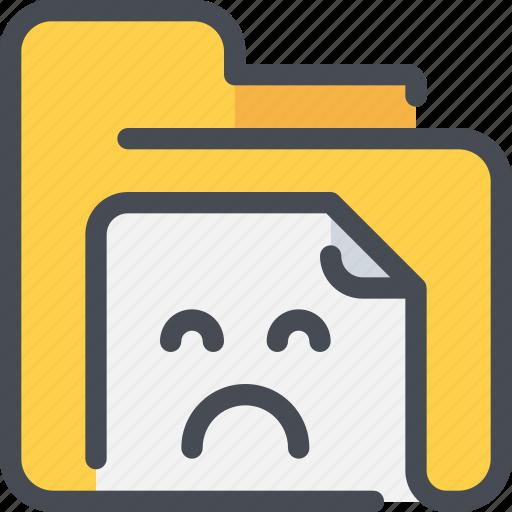 archive, document, file, folder, sad icon