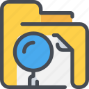 archive, document, file, folder, research, search icon