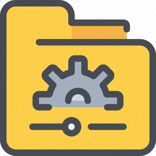 archive, document, file, folder, gear, process icon